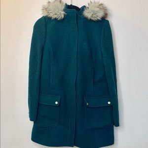 Talbots Womens 6 Wool Jacket Teal Zip Winter Parka